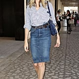 Lauren Santo Domingo spotted in a chic pencil skirt during New York Fashion Week.