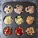 Steel-cut oatmeal muffins with blueberries, kiwis, nuts, apples, or strawberries
