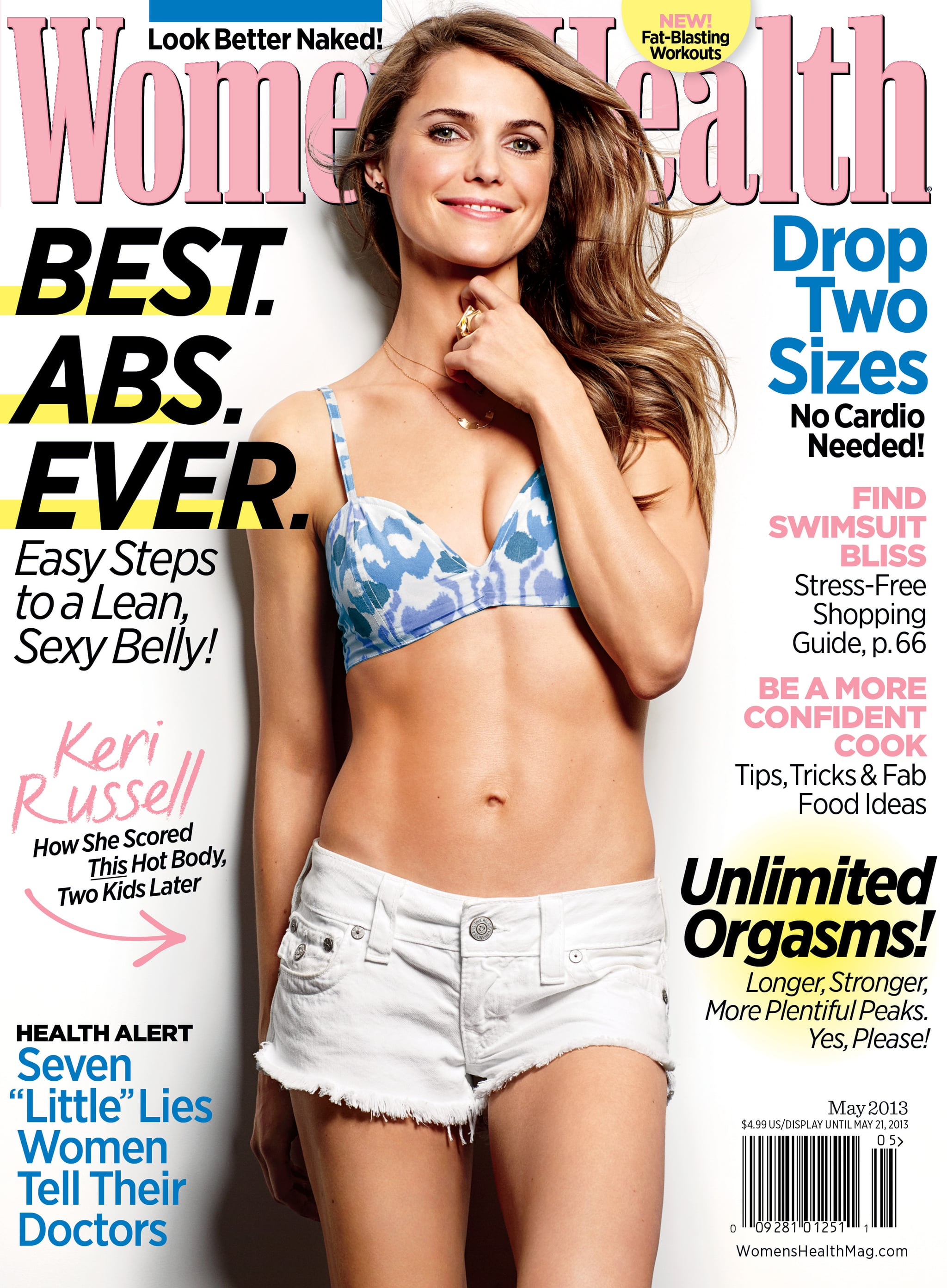 Keri Russell on the cover of the May 2013 Women's Health.