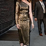 Anne Hathaway's Gold Gianvito Rossi Heels
