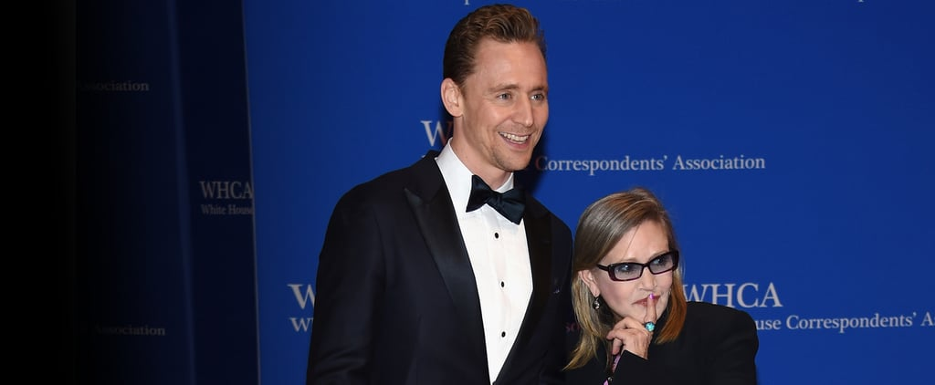 Carrie Fisher Attends White House Correspondents' Dinner With Her Dog, Cuddles Tom Hiddleston