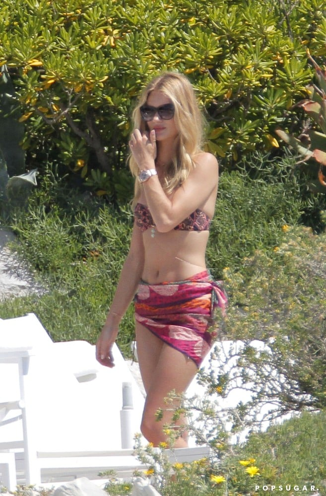 Rosie Huntington-Whiteley wore a printed bikini.