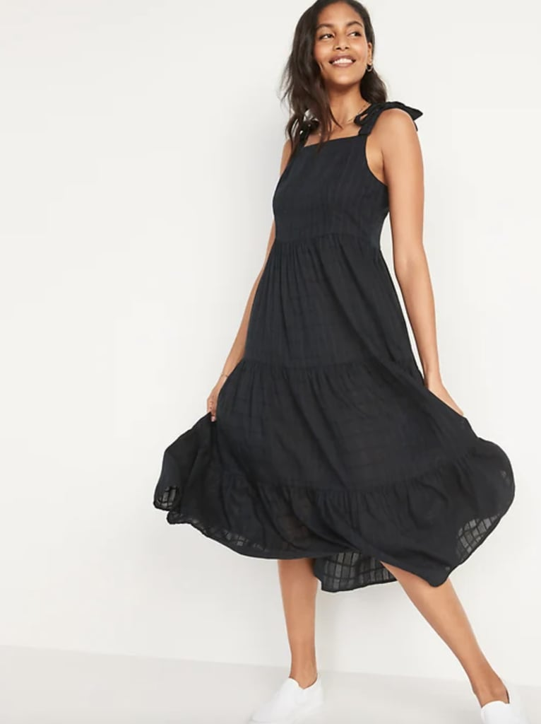 For a Pep in Your Step: Old Navy Fit and Flare Sleeveless Smocked Tie-Shoulder Midi Dress