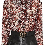 Saint Laurent Leopard Printed Silk Crepe Shirt