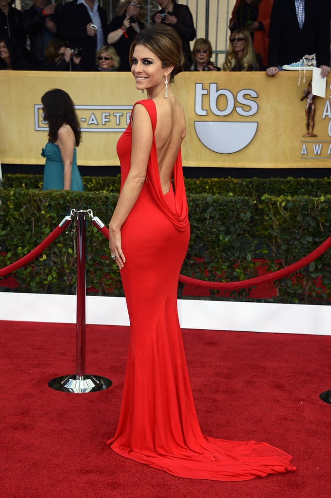 Maria Menounos brought sexy back in a fiery red gown and diamond drop earrings.