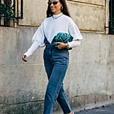 Add Dimension to Your Look When You Work Your High-Waist Denim With Bishop Sleeves