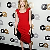 Emma Roberts in a red dress.