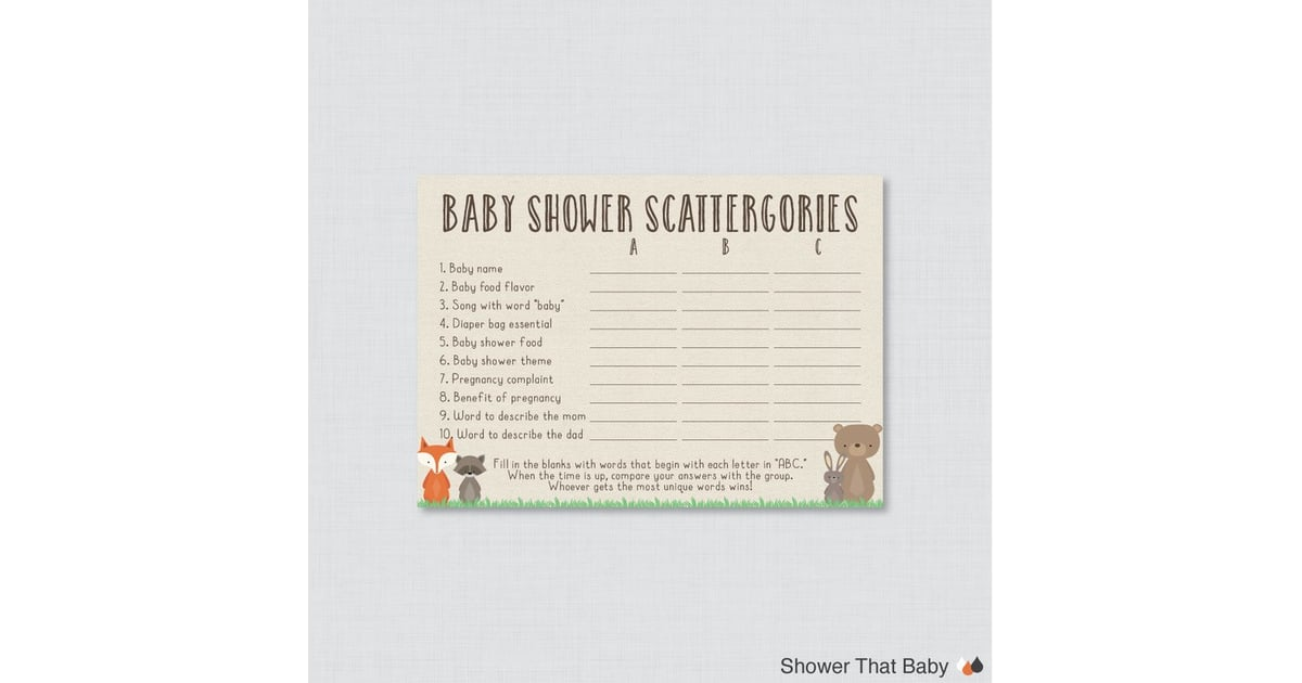 photograph about Printable Scattergories identified as Woodland Little one Shower Printable Scattergories Video game