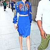 Two decades in one! In a strong, cerulean nod to the '80s, Miley Cyrus was spotted in NYC wearing Pucci.