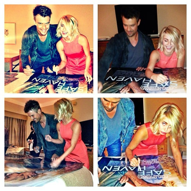 Josh Duhamel and Julianne Hough autographed posters for fans during a Safe Haven promo stop. Source: Instagram user juleshough