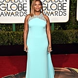 Queen Latifah in a powder-blue Badgley Mischka gown
