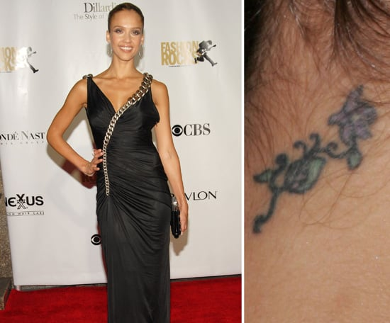 Jessica Alba has a flower vine tattooed on the back of her neck.