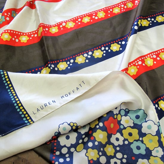 """Style inspiration can come from anywhere really,"" says Moffatt. ""A great scarf found at a flea market, or a drawing that you just die over; you never know where you'll see something that will trigger a look.""  At left, a silk scarf from Moffatt's Fall 2011 collection."