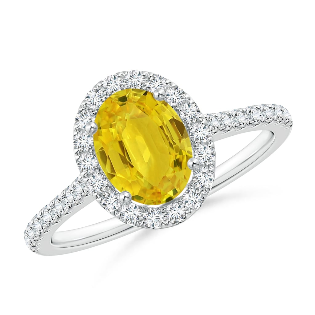 Oval Yellow Sapphire Halo Ring with Diamond Accents