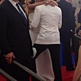 Victoria and David Beckham shared a sweet kiss on the red carpet. Source: Twitter user metmuseum