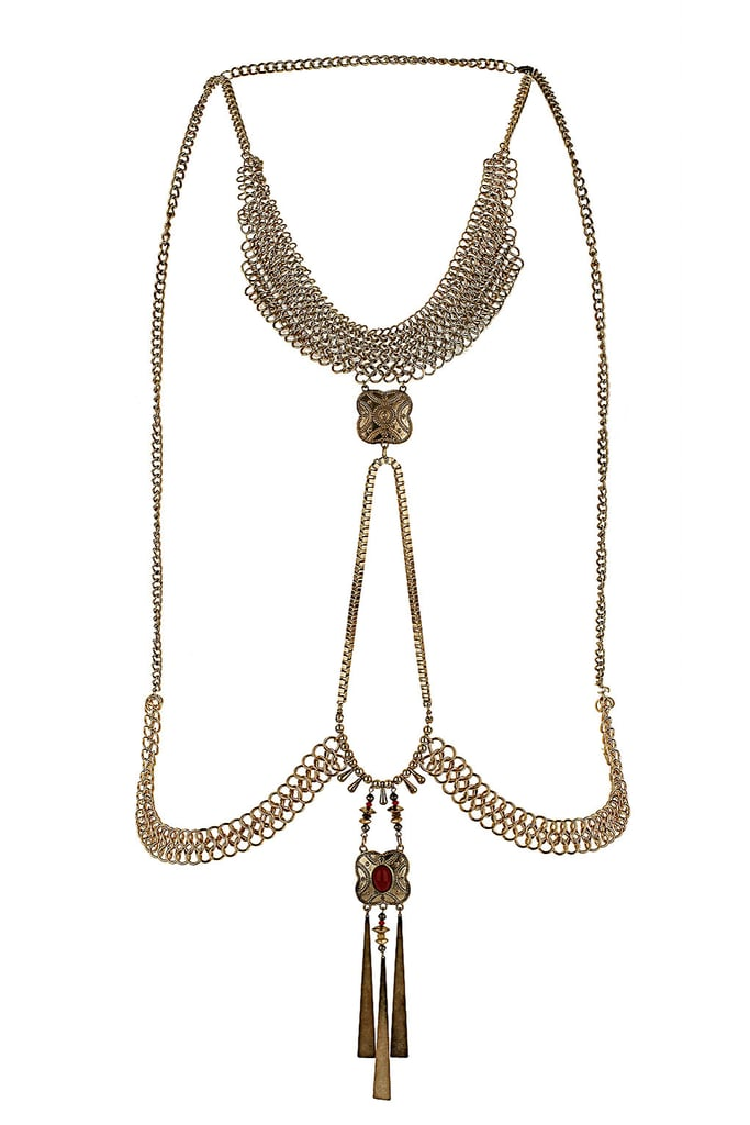 For the more eclectic glamour girl, this Topshop Scandi Body Chain ($60) would be the perfect statement maker against a black maxi.