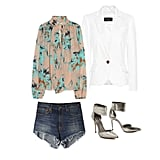 If you're a member of the other one percent — the ones lucky enough to get away with denim shorts at the office  — all you need to make your cutoffs work-appropriate are a frothy silk blouse, a crisp white blazer, and sleek, metallic heels. This look is perfect for going straight from the office to happy hour in style. Get the look:  By Malene Birger Bartolomea Floral Silk Blouse ($321) Mango Slim-Fit Cotton Blazer ($70) Jean-Michel Cazabat Elisa Pumps ($375) R13 Relaxed Cut Off Shorts ($265)