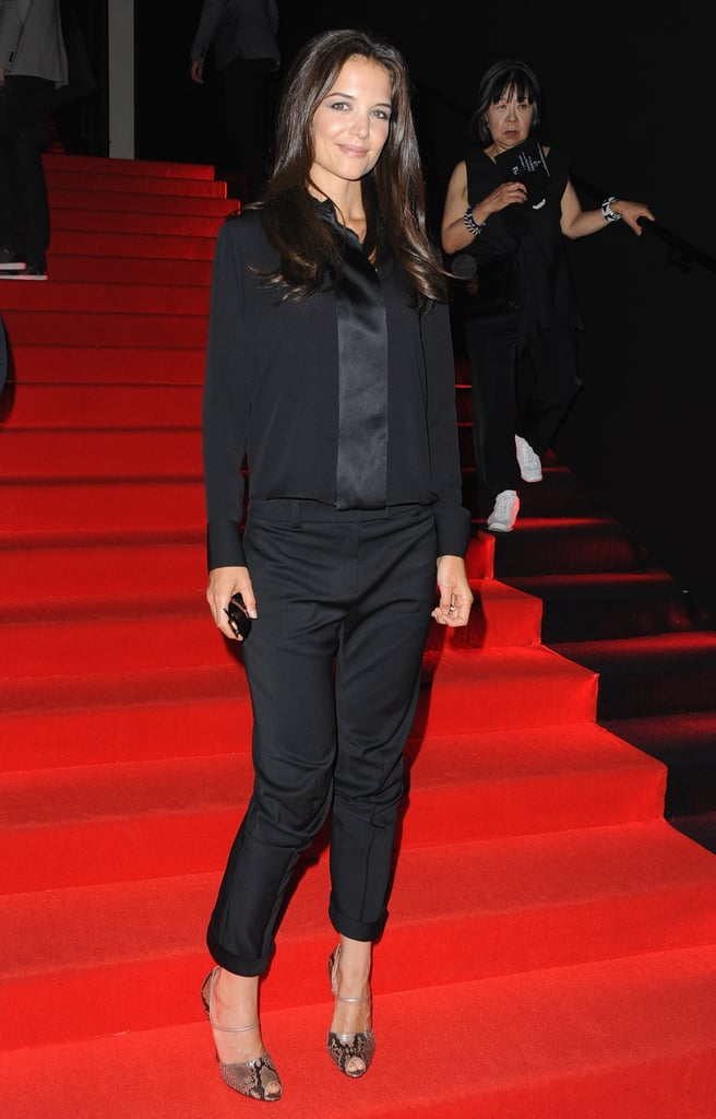 Katie Holmes on the Armani red carpet.