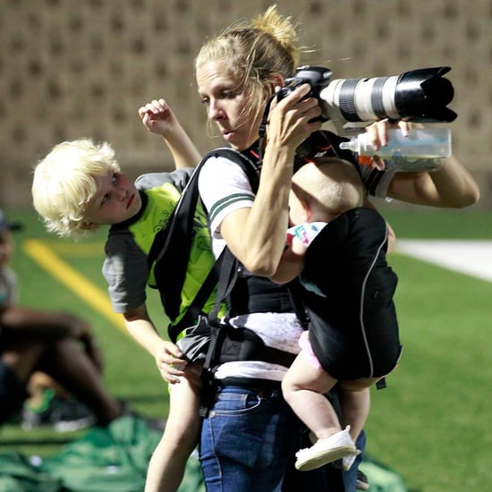 Mom Straps 2 Kids to Her Body So She Can Work Football Game