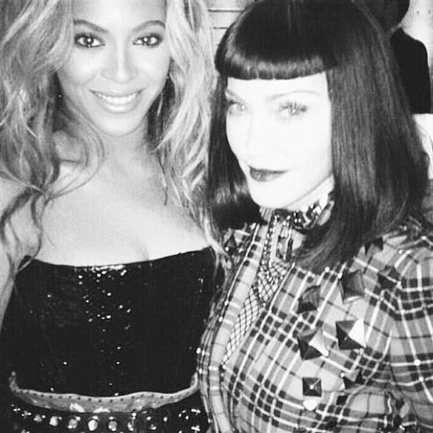 Two legends in one social media snap — Beyoncé Knowles and Madonna teamed up for an epic candid shot. Source: Instagram user officialbeyonce
