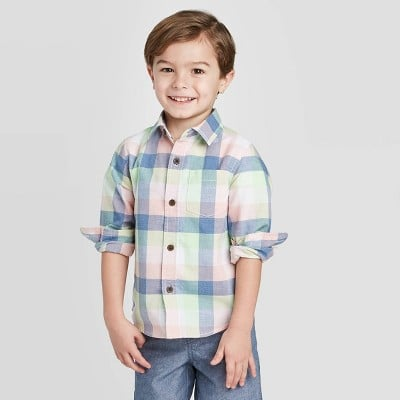 Long Sleeve Woven Plaid Button-Down Shirt
