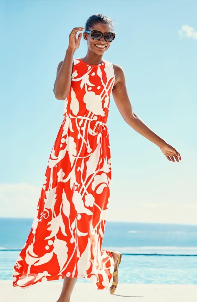 Boden Delphine Tie-Waist Sleeveless Maxi Dress
