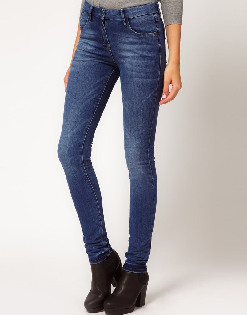 ASOS's Supersoft High-Waisted Skinny Jeans ($52) are perfect for wearing with a tucked-in tee and printed belt.