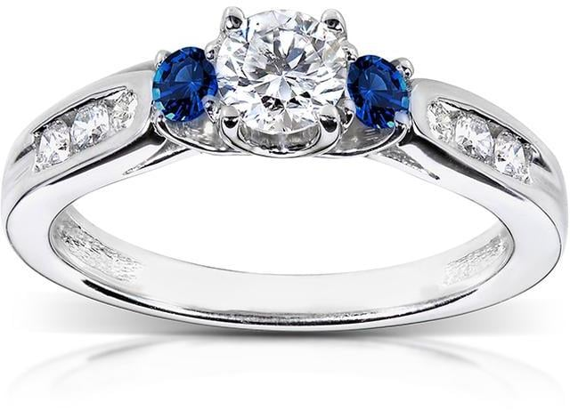 Kobelli Jewelry Round Diamond 14K Gold Engagement Ring With Sapphire Accents
