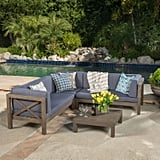 Marquez 4-Piece Wooden Sectional Set With Gray Cushions