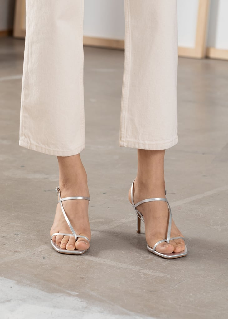 & Other Stories Cross Strap Silver Sandals