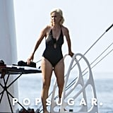 She wore a polka-dot one-piece while vacationing in Spain in July 2019.