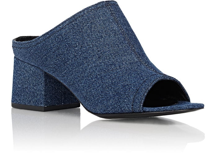 "3.1 Phillip Lim Denim ""Cube"" Mules ($425)"