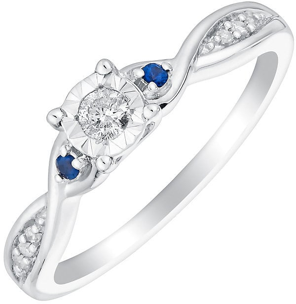 9ct White Gold Illusion Set Diamond & Sapphire Ring