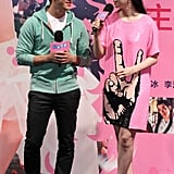 Fan Bingbing took the One Night Surprise stage in Beijing wearing a graphic Ashish shift alongside Aarif Rahman.