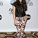 Shenae Grimes worked her rock-chic Chloé boots with a black leather top and floral Alice + Olivia jeans at an event in NYC.