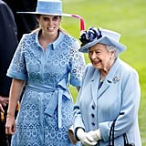 Princess Beatrice and the queen matched in blue at Royal Ascot in 2019.