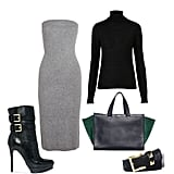 We love the idea of layering this turtleneck under a cozy strapless dress for a chic and seasonally appropriate take on colorblocking.  Shop the look:  Topshop Knitted Merino Wool Roll Neck Top ($90) T by Alexander Wang Tube Sweater Dress ($92, originally $230) Vince Camuto Calf Hair Studded Belt ($60) Michael by Michael Kors Mae Faux-Shearling Platform Booties ($325) Giorgio Armani Small Shopping Suede and Leather Tote ($1,680)
