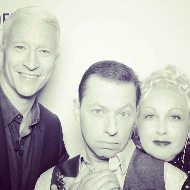 Anderson Cooper hopped in a photo booth with Cyndi Lauper and Jon Cryer.  Source: Instagram user andersoncooper