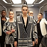 """NEXT STOP #HMBALMAINATION,"" H&M captioned this fierce photo. Here, Kendall wears the pearl-adorned jacket she walked the red carpet in when the collection was first announced at the Billboard Music Awards. Olivier calls the design his favorite piece!"