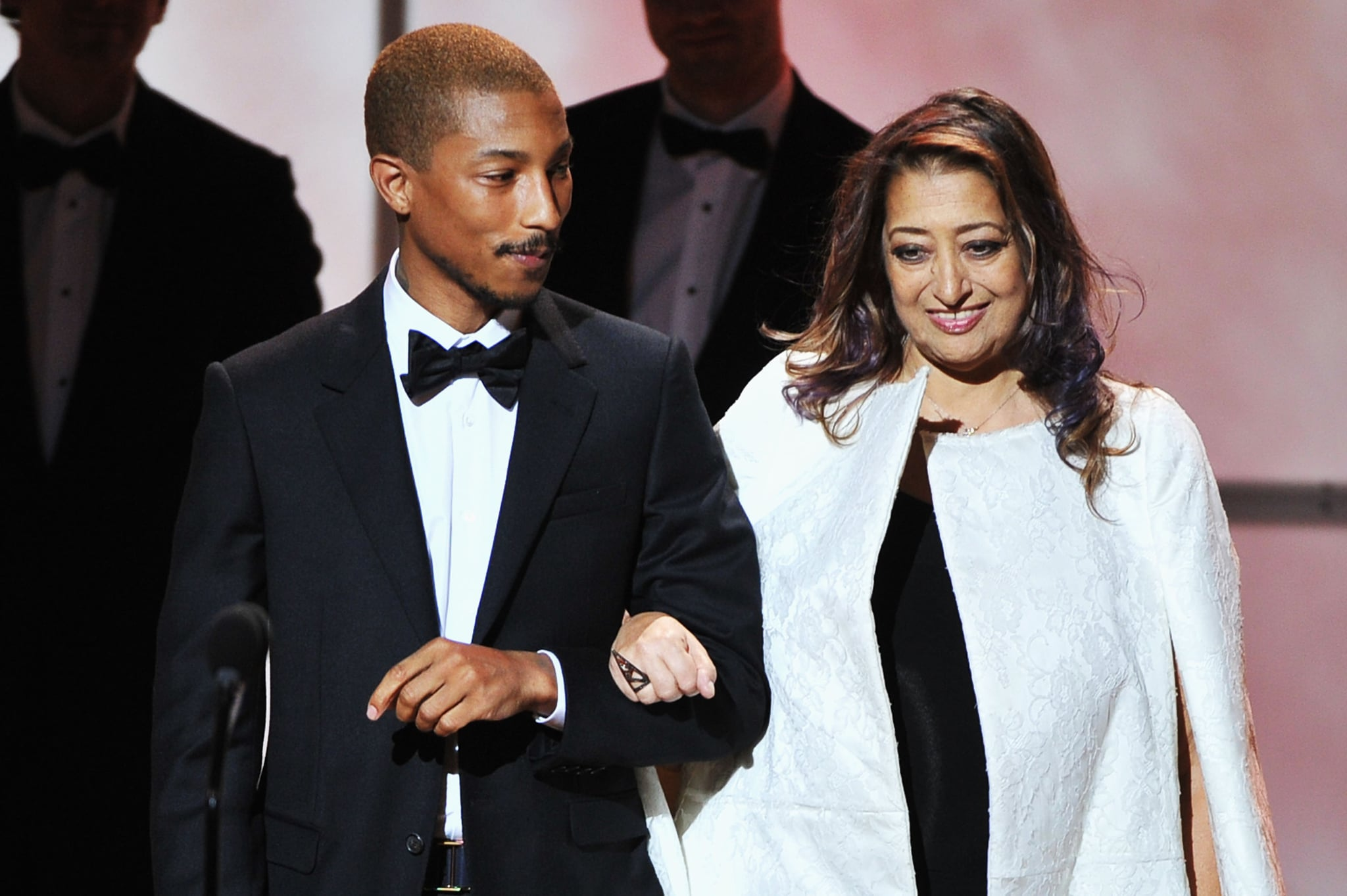 Pharrell Williams and Zaha Hadid attended the Glamour Women of the Year Awards in NYC.