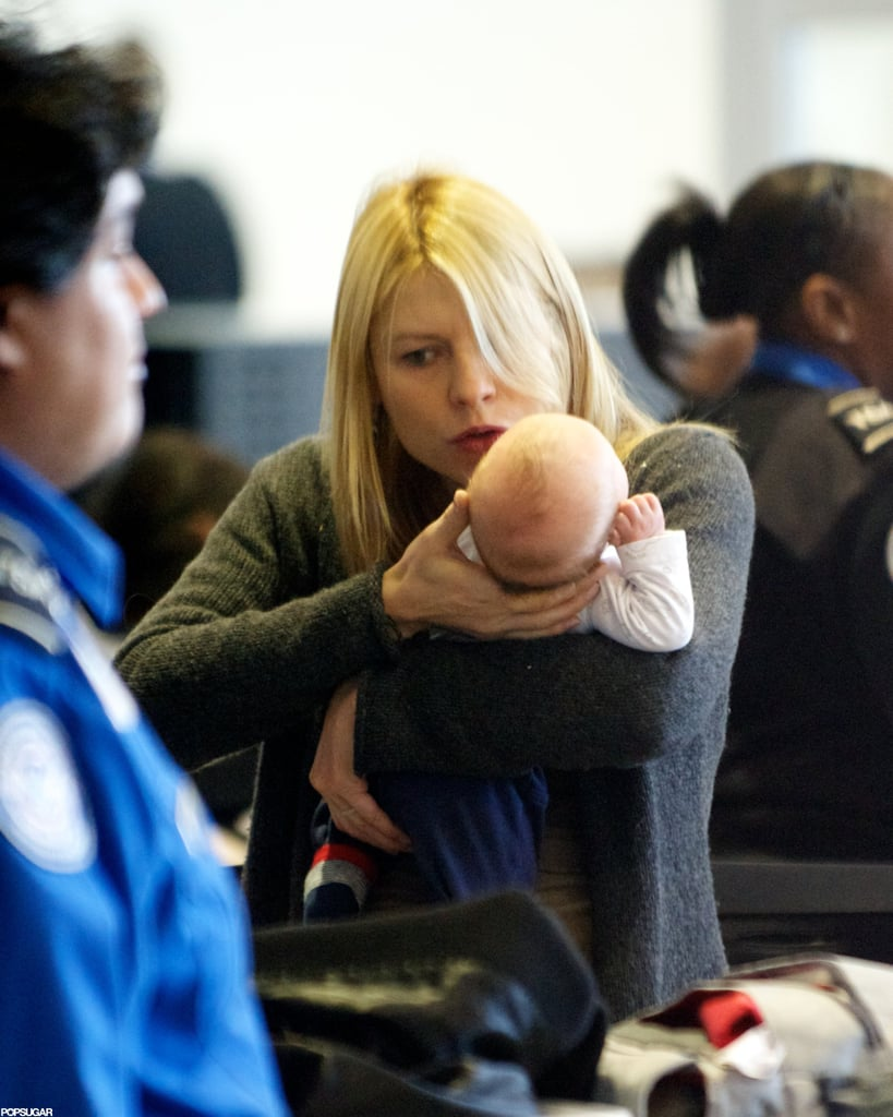 Claire Danes traveled through LAX with baby Cyrus Dancy.
