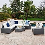 Cabo 7-Piece Gray Wicker Sofa Set With White Cushions