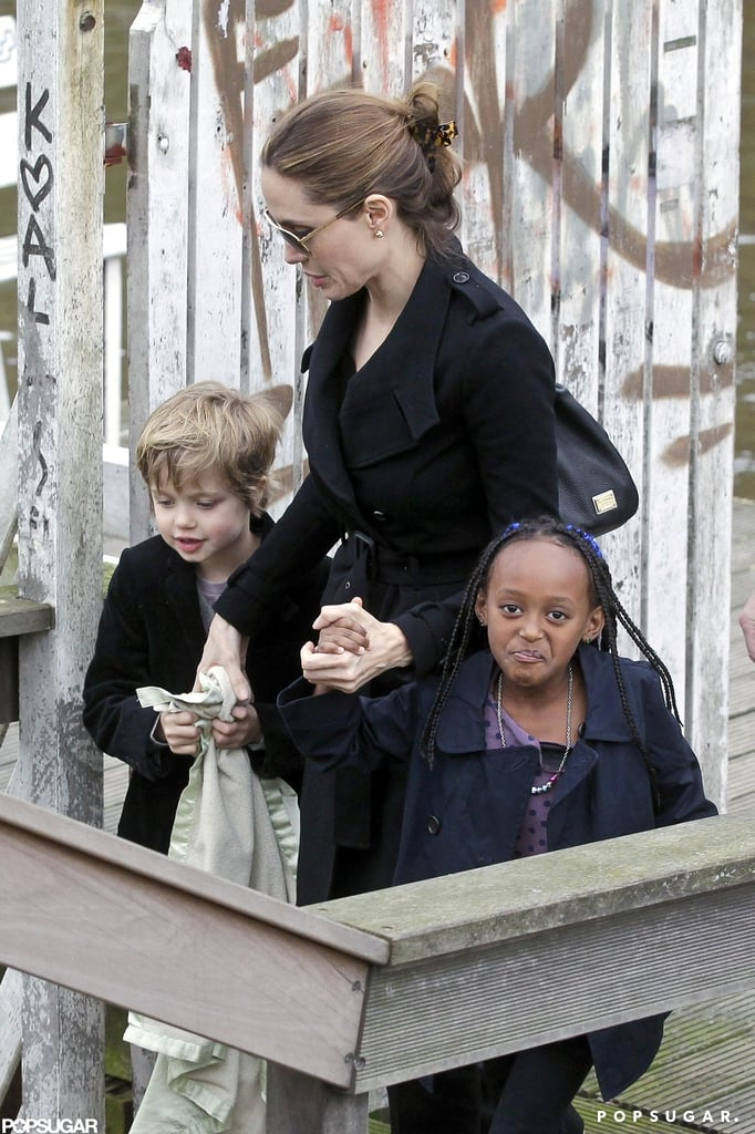 Angelina Jolie hung out with Shiloh and Zahara Jolie-Pitt in Amsterdam in March.