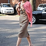 Another day, another slim plaid dress from Anna Wintour. This time her style made an appearance outside Emporio Armani.