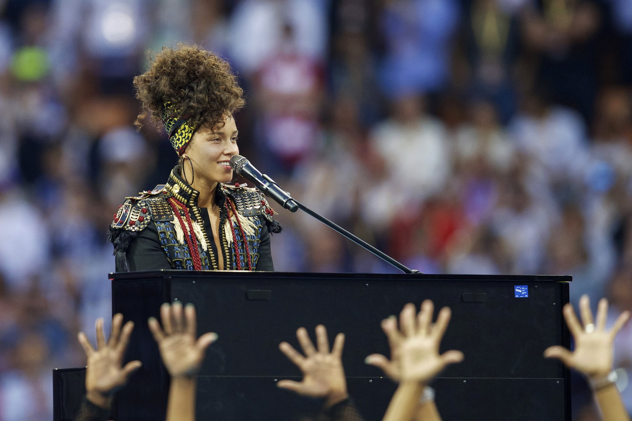 artist Alicia Keys performsshow before Champions League final during the UEFA Champions League final match between Real Madrid and Atletico Madrid on May 28, 2016 at the Giuseppe Meazza San Siro stadium in Milan, Italy.(Photo by VI Images via Getty Images)