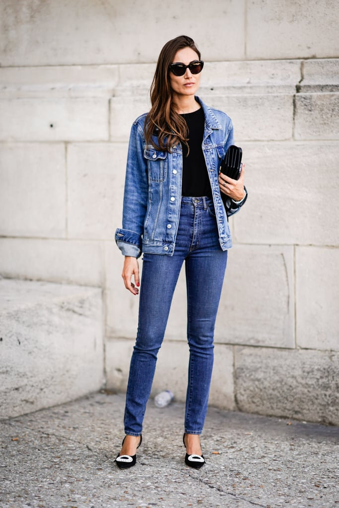 With A Denim Jacket And Luxe Heels Jeans Outfit Ideas Popsugar