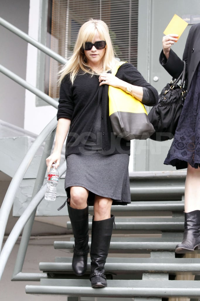 Reese Witherspoon stepped out in LA in a gray dress and black sweater.