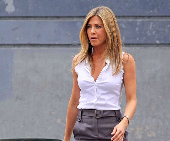 Slide Photo of Jennifer Aniston Wearing a White Button Down on the Set of The Bounty in NYC