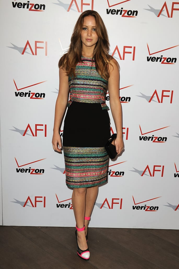 Jennifer Lawrence wore Prabal Gurung's metallic neon tweed dress.