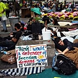 Activists live and sleep in the financial district as a part of the demo.